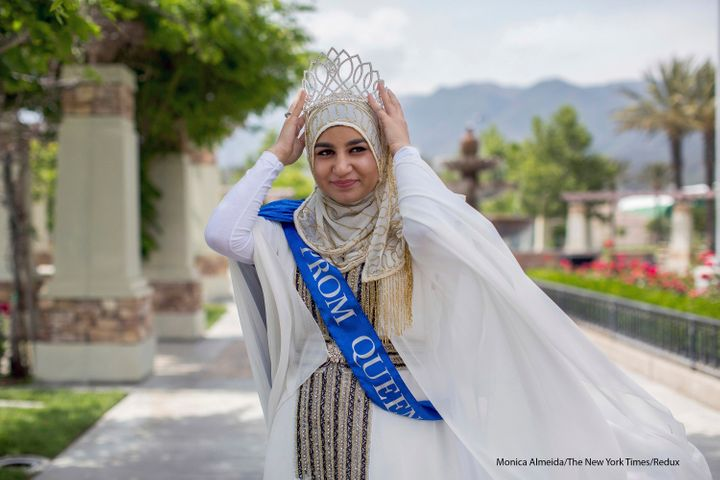 Zarifeh Shalabi, 18, who was elected prom queen at Summit High School, at a park near its campus in Fontana, Calif., April 26