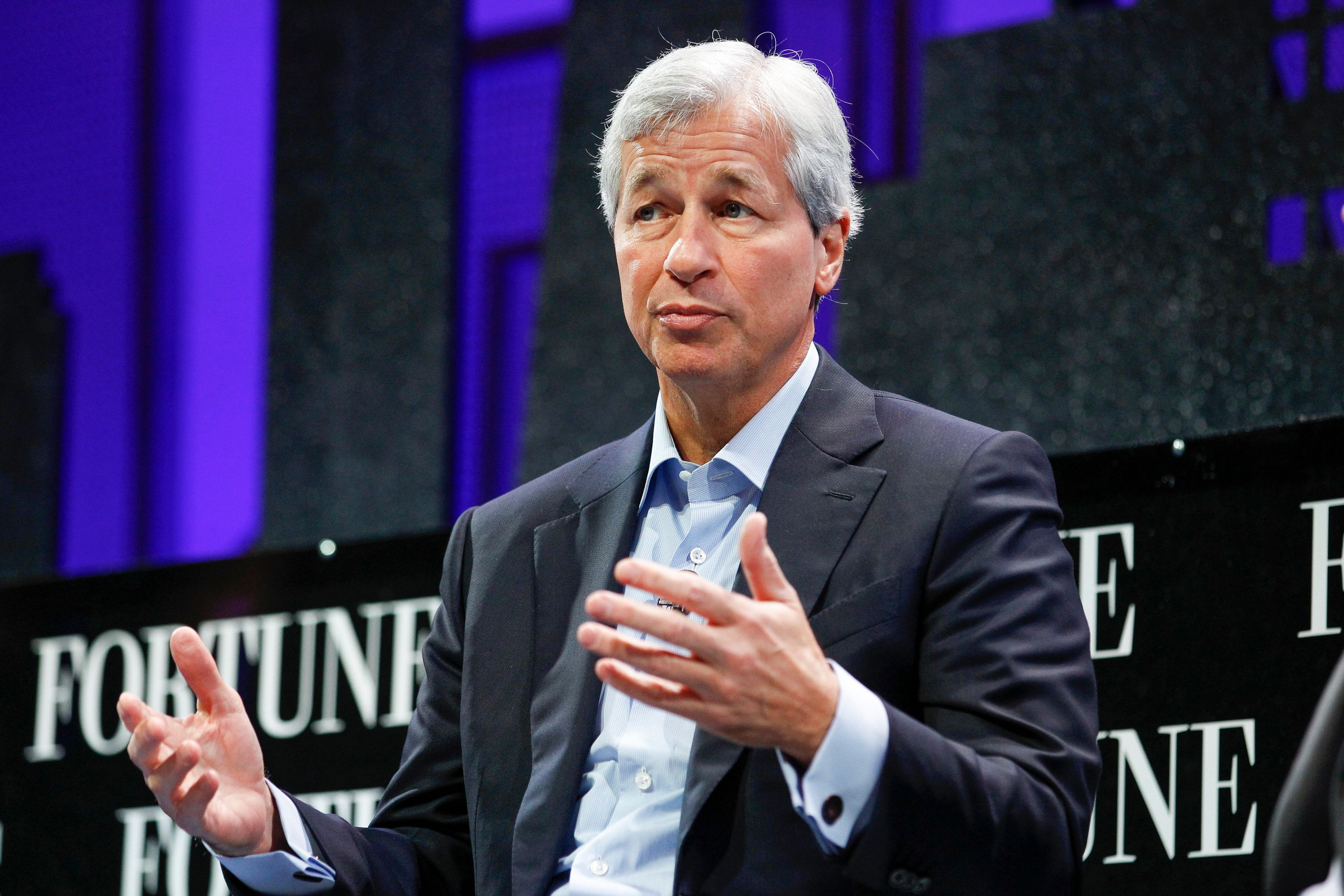SAN FRANCISCO, CA - NOVEMBER 04:  Jamie Dimon speaks during the Fortune Global Forum - Day 3 at the Fairmont Hotel on November 4, 2015 in San Francisco, California.  (Photo by Kimberly White/Getty Images for Fortune)