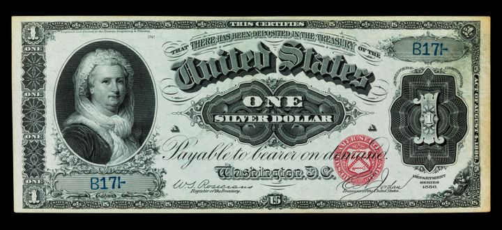 One-dollar silver certificate, United States of America, 1886, Martha Washington, First Lady of the United States of America&