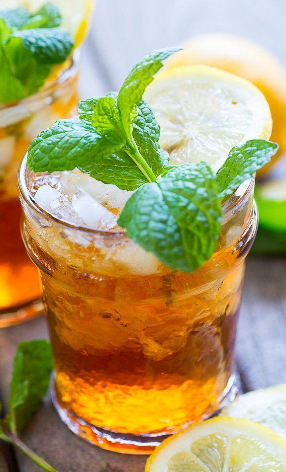 """<strong>Get the <a href=""""http://spicysouthernkitchen.com/sweet-tea-mint-juleps/"""" target=""""_blank"""">Sweet Tea Mint Juleps recipe"""