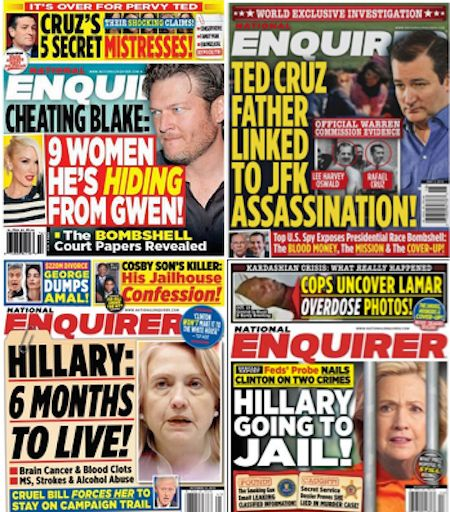 This election cycle, The National Enquirer has targeted Ted Cruz and Hillary Clinton, who is likely to face more dire headlin