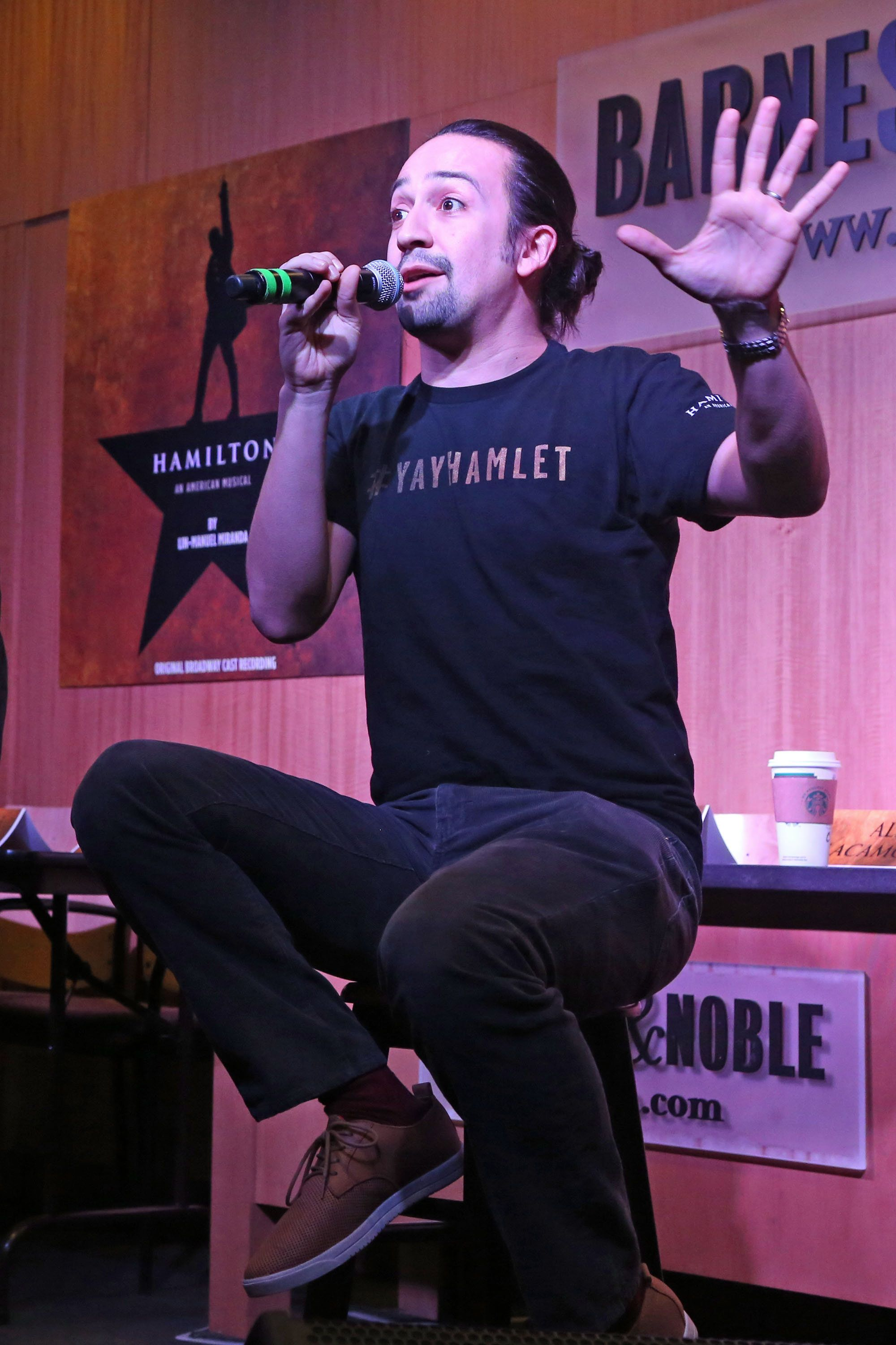 NEW YORK, NY - OCTOBER 16:  Lin-Manuel Miranda performs and talks to the crowd celebrating the release of The Atlantic Records original Broadway cast recording of 'Hamilton' at Barnes & Noble, 86th & Lexington on October 16, 2015 in New York City.  (Photo by Bruce Glikas/FilmMagic)