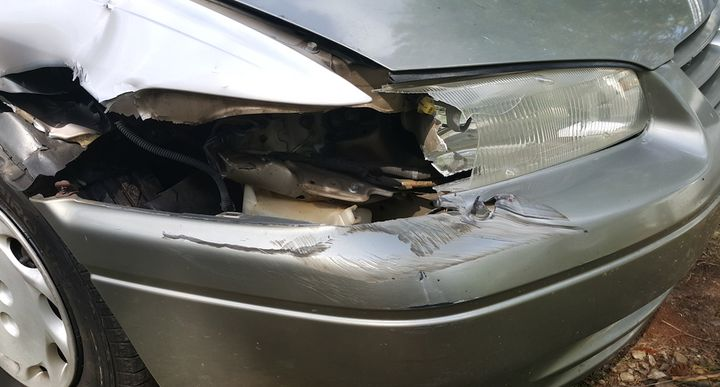 Cassandra McWade's damaged car.