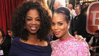 LOS ANGELES, CA - JANUARY 18:  Oprah Winfrey and Kerry Washington attend 20th Annual Screen Actors Guild Awards at The Shrine Auditorium on January 18, 2014 in Los Angeles, California.  (Photo by Kevin Mazur/WireImage)