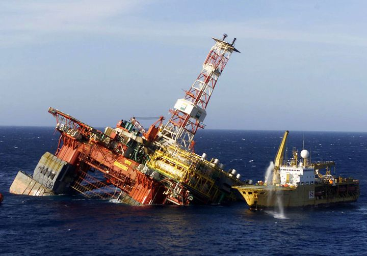 A Rescue Ship Is Seen Alongside The P 36 Oil Rig Owned By Brazilian