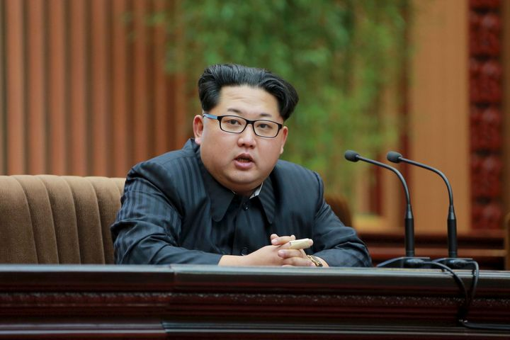 North Korean leader Kim Jong-un speaks during an award ceremony in February. Kim is expected to use the party congress to sol