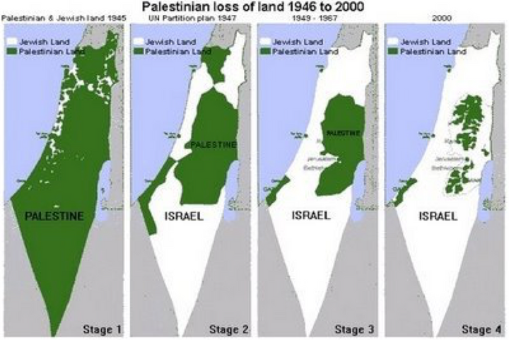"""There were about 500,000 Jews in Israel in 1948, but if you saw this map you would never guess that. This also uses """"Jewish"""" in place of """"Israeli""""."""