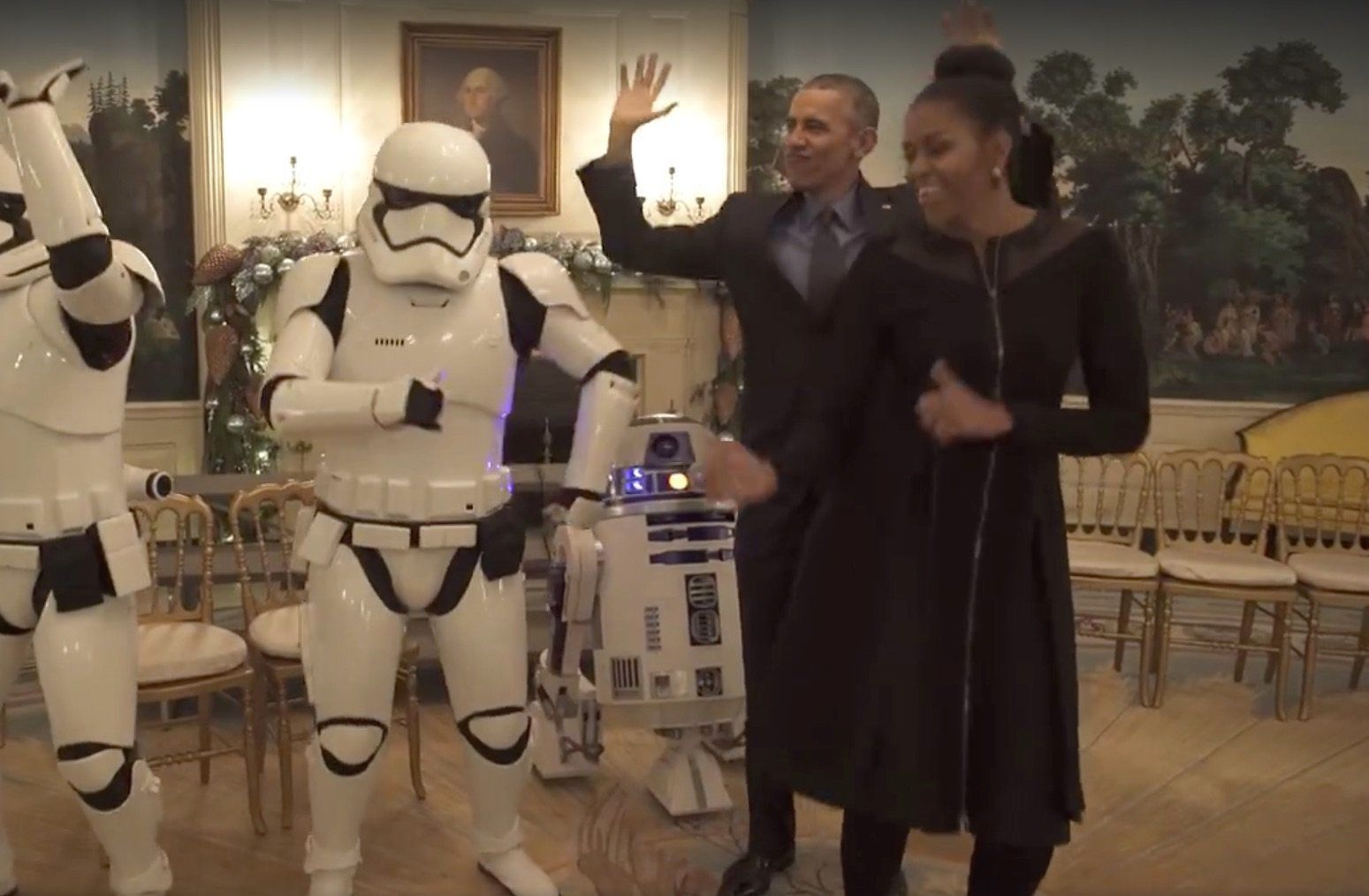 President Obama and the First Lady dance.