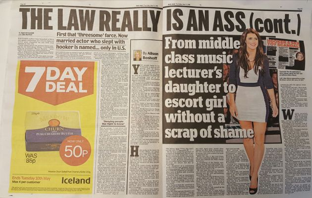 The Daily Mail's double-page spread brands the law 'an ass' after British media werebanned from...