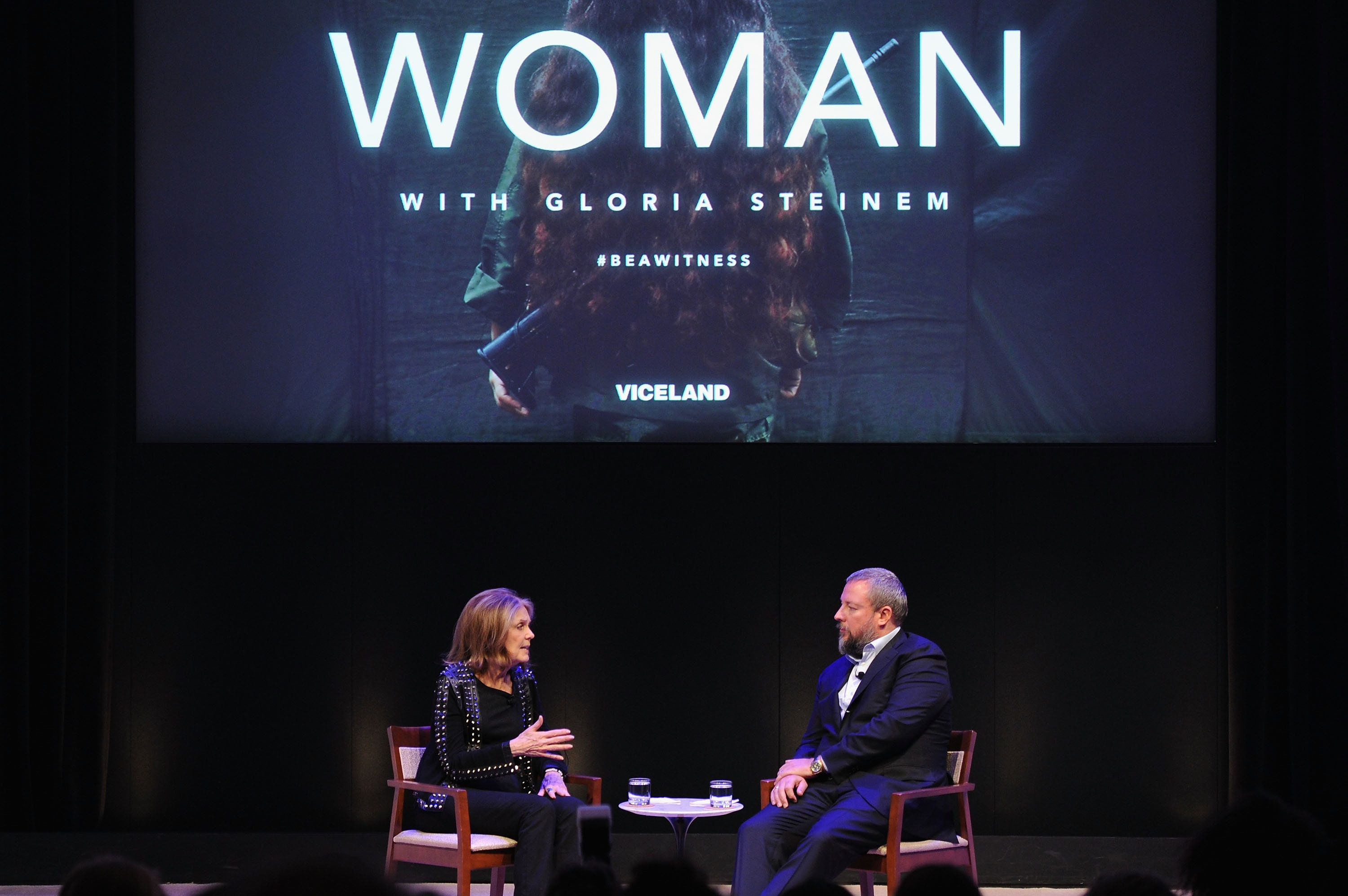 "Steinem and Vice co-founder Shane Smith discussed ""WOMAN"" after the premiere on Wednesday night."