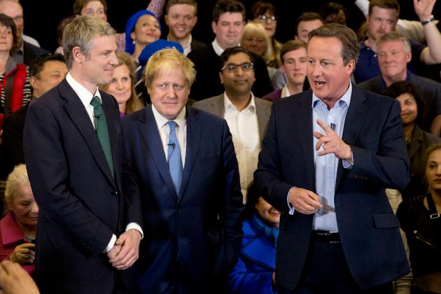 Second place: Zac Goldsmith with outgoing mayor Boris Johnson and David Cameron on the campaign