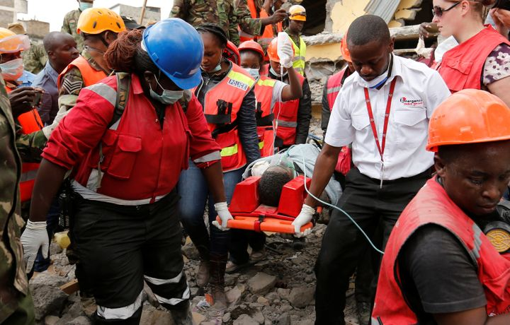 Three people were rescued from the rubble of a building in Nairobi, Kenya, that collapsed six days ago. The death toll f