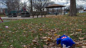 Stuffed animals lay on the lawn near the Cudell Commons Park in Cleveland, Ohio, November 24, 2014 after extreme wind blew the teddy bears from a memorial for Tamir Rice, a 12-year-old boy shot by police on November 23. The chief of police in the US city of Cleveland on Monday defended the conduct of the officer who fatally shot the 12-year-old who was wielding a replica handgun. Tamir Rice died in hospital early Sunday after two police officers, responding to a 911 emergency call, confronted the African-American youngster at a recreation center.  Cleveland police chief Calvin Williams said the officer, whose name or racial group he did not disclose, and who has been placed on administrative leave, was 'broken up about this.' But he stood by the officer's conduct, saying 'he had to protect himself' in the face of what appeared to be, in the heat of the moment, to be a genuine firearm. AFP PHOTO JORDAN GONZALEZ        (Photo credit should read JORDAN GONZALEZ/AFP/Getty Images)