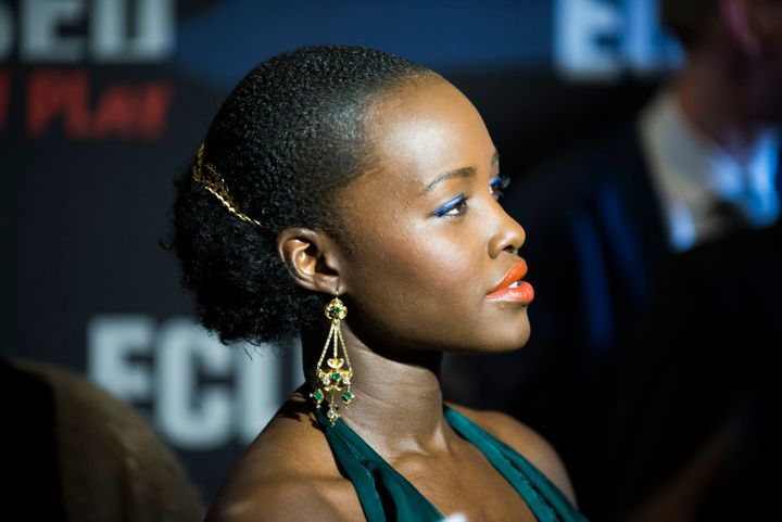 Nyong'o with her hair pulled back for the 'Eclipsed' Broadway opening.
