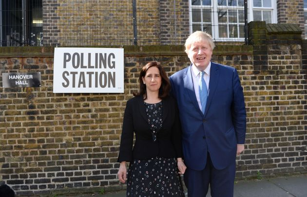 Elections are taking place around the country:Mayor of London Boris Johnson and wife Marina arrive...