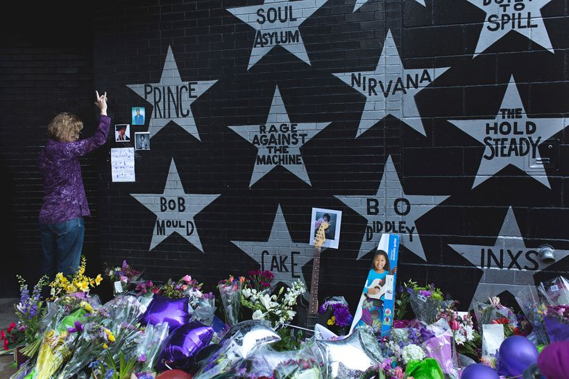 A fan mourns the loss of Prince outside First Avenue&mdash;a club he made famous through his movie <i>Purple Rain&mdash;</i>j
