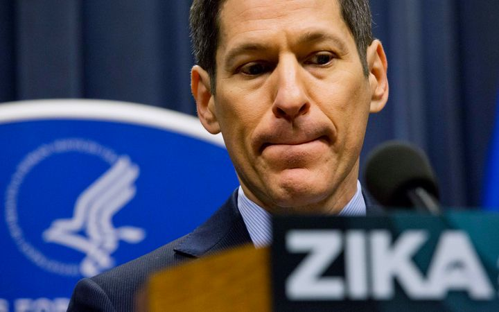 Dr. Thomas Frieden, director of the Centers for Disease Control and Prevention, speaks during a press conference at a one-day