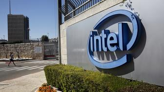 The logo of Intel, the world's largest chipmaker is seen at their offices in Jerusalem, April 20, 2016. REUTERS/Ronen Zvulun