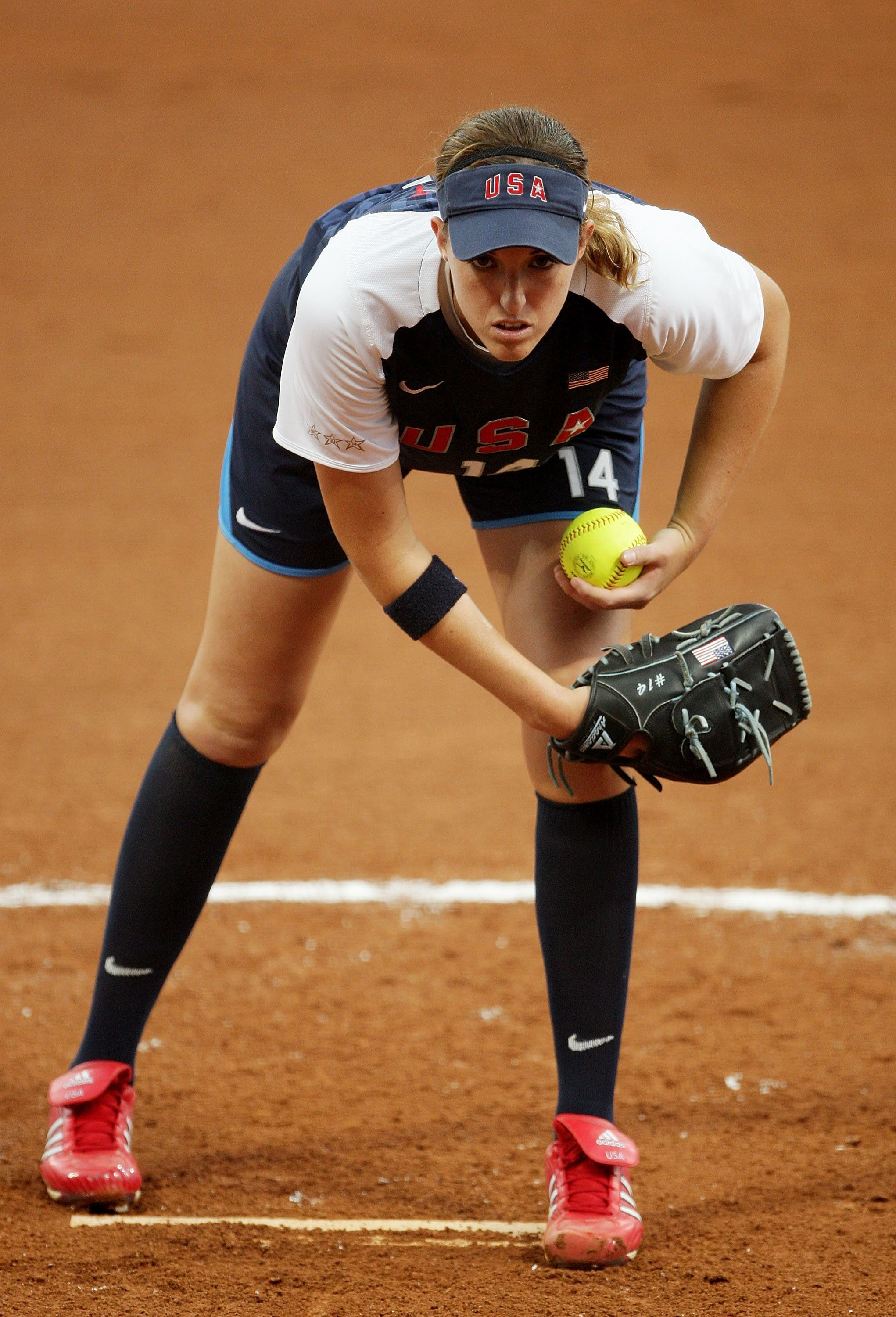 BEIJING - AUGUST 14:  Monica Abbott #14 of the United States prepares to throw a pitch against Canada during their preliminary softball game at the Fengtai Softball Field during Day 6 of the Beijing 2008 Olympic Games on August 14, 2008 in Beijing, China.  (Photo by Mark Dadswell/Getty Images)