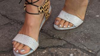 NEW YORK, NY - JUNE 17:  Actress Jamie Chung, shoe detail, attends the Sally Beauty Mobile Nail Studio Tour at Bryant Park on June 17, 2015 in New York City.  (Photo by Michael Stewart/WireImage)
