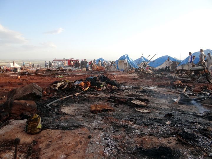 Witnesses said the camp took two direct hits, and many tents were set on fire.