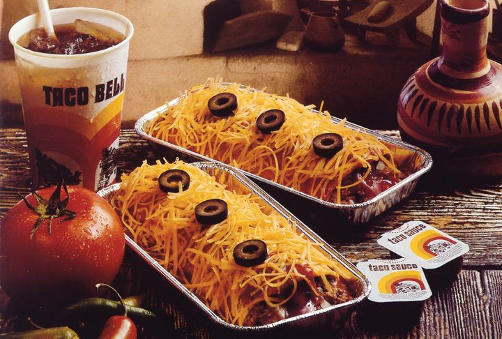 The original Taco Bell Enchirito had three black olives on top and came in a signature foil tin.