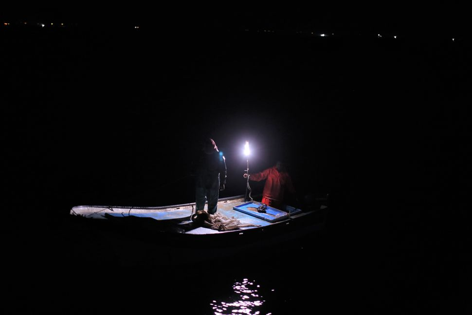Palestinian fishermen sail around their fishing nets to protect them fromother ships.