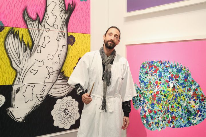 Artist Adrien Brody displays his work during the the kick off of Art New York and CONTEXT for 2016 New York Art Week at Pier