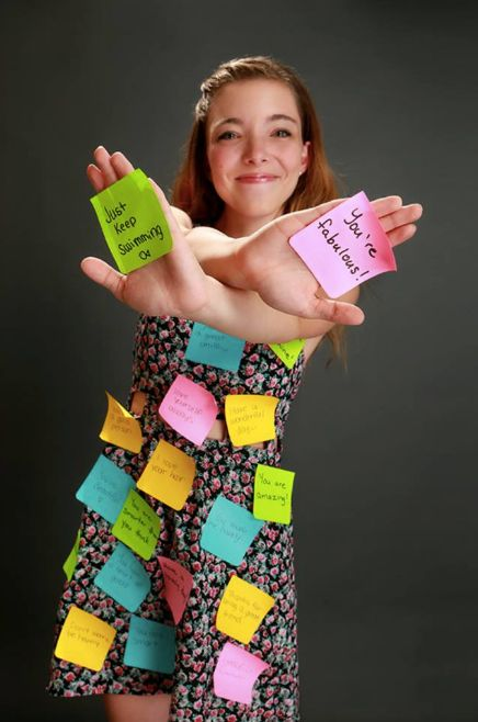 Caitlin Haacke responded to an act of bullying by posting hundreds of encouraging Post-it notes throughout her high scho