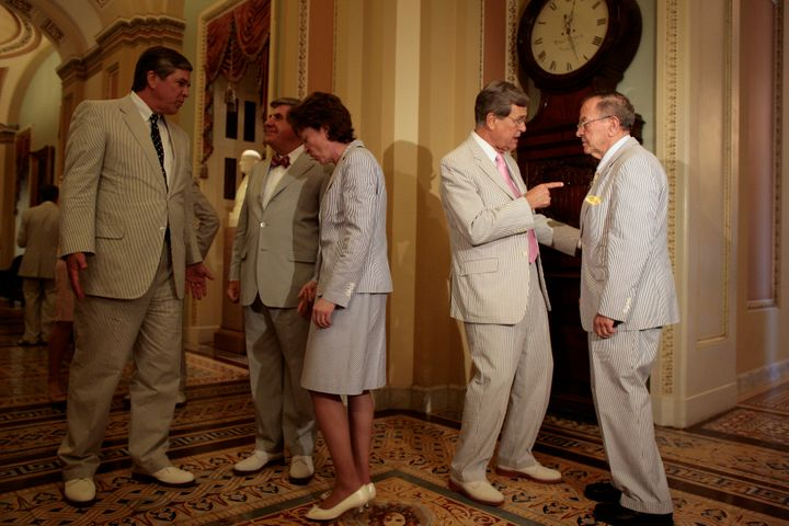 U.S. senators have come to celebrate seersuckers every year on Seersucker Day, and here they politick in comfort in 2007