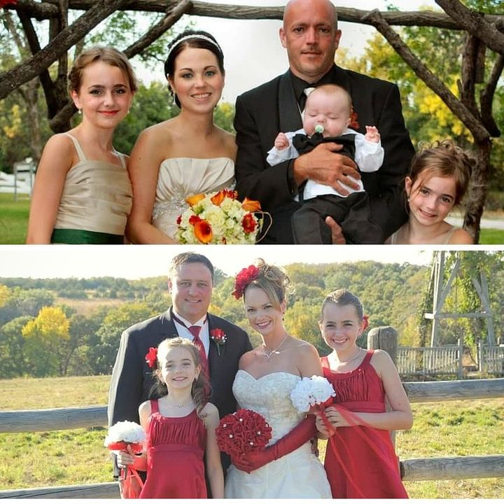 Jeff and Molly on their wedding day and below, Trish and Bob when they tied the knot.