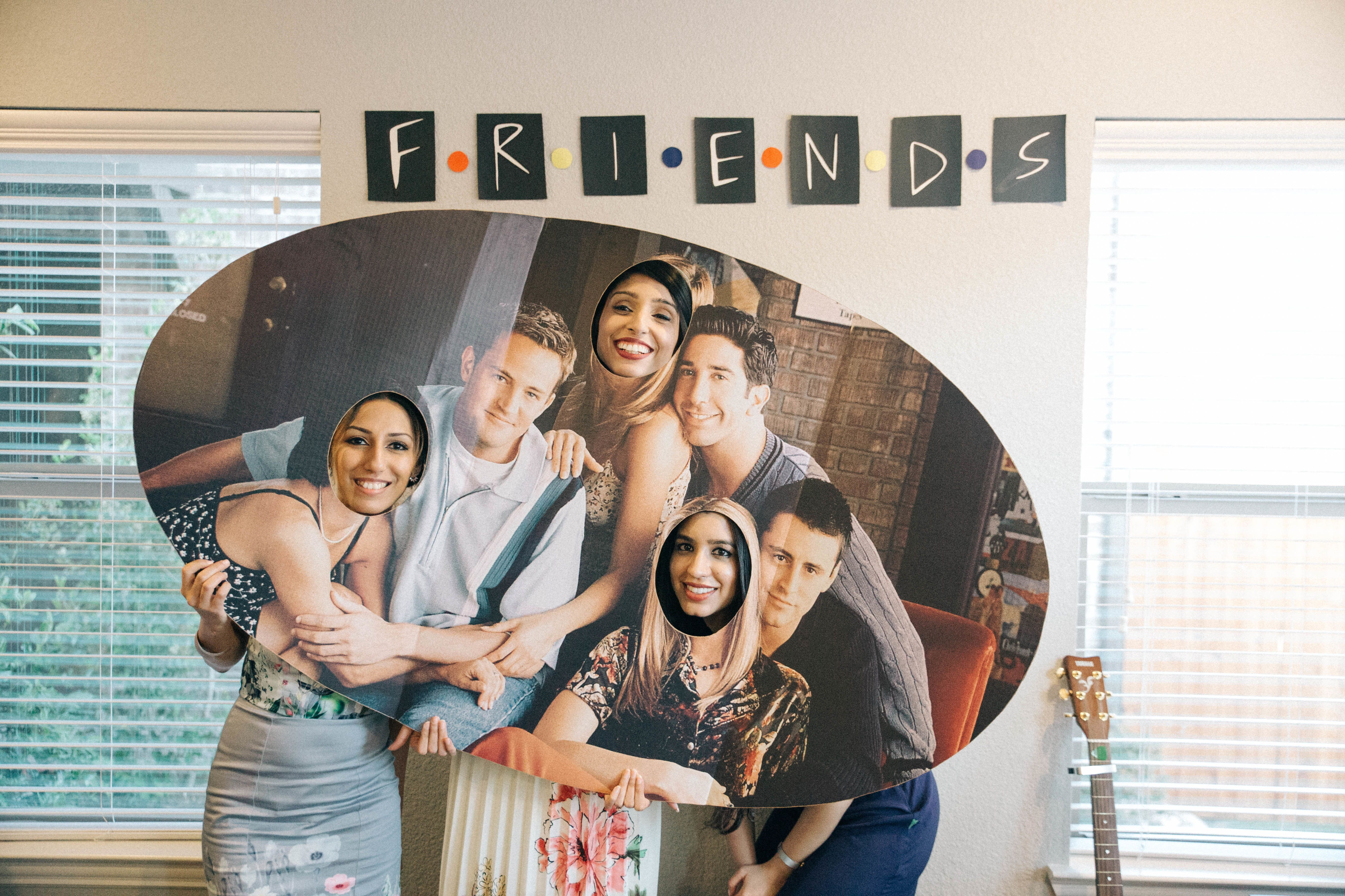 """This cutout-board was oneof many""""Friends""""-themed props and foods at Sana's bridal shower."""