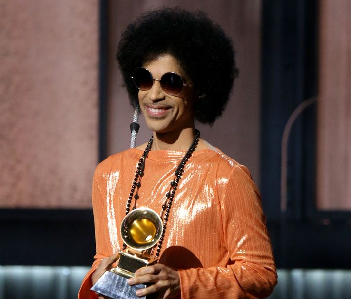 Prince speaks onstage during the Grammy Awards in 2015 in Los Angeles.