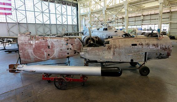 "The outer wing (left) and forward fuselage (right) of the Nakajima B5N ""Kate,"" which is now on display at Hawaii's Pacific Aviation Museum."