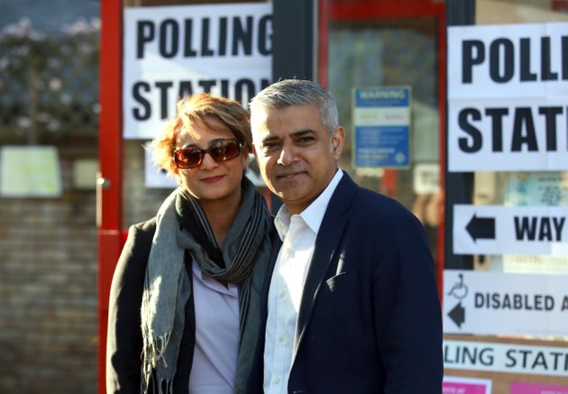 Despite the focus on his links with extremists, Sadiq Khan, pictured with wife Saadiya, won relatively