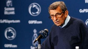 Penn State head coach Joe Paterno answers questions during a news conference following a loss to Alabama in  their NCAA football game in State College, Pennsylvania, September 10, 2011. REUTERS/Tim Shaffer (UNITED STATES - Tags: SPORT FOOTBALL)