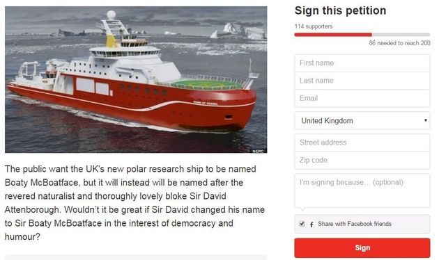 Boaty McBoatface Petition Calls On Sir David Attenborough To Stand Up For