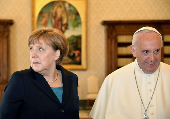 "In the presence of top European Union leaders, Pope Francis said Europe has become ""weary"" and lamented its treatment of migr"