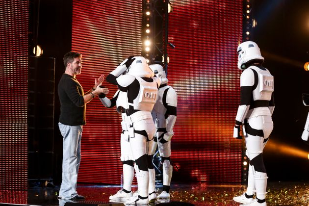 The dance troupe were dressed as Stormtroopers from 'Star