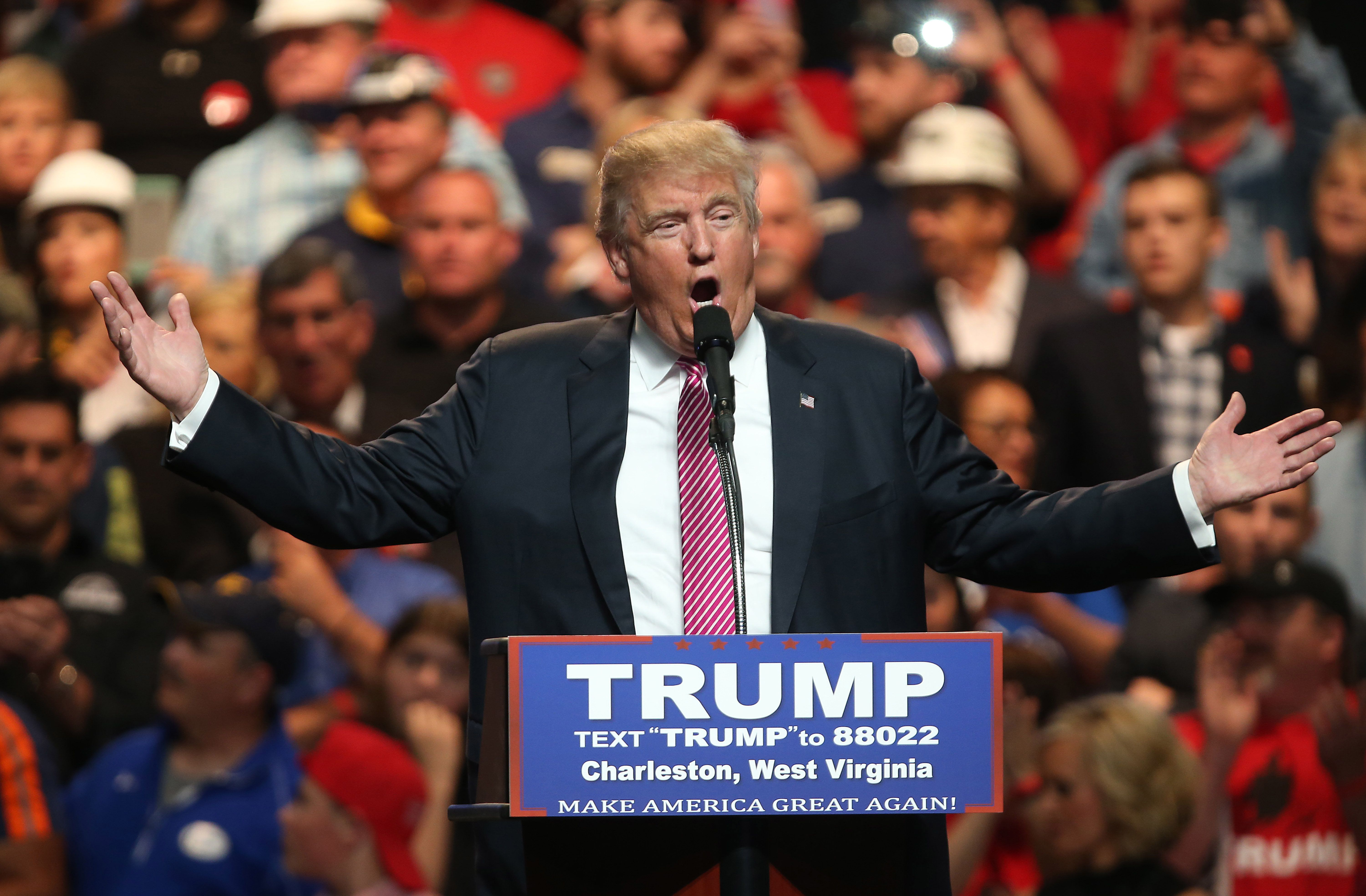 CHARLESTON, WV - MAY 05: Republican Presidential candidate Donald Trump speaks during his rally at the Charleston Civic Center on May 5, 2016 in Charleston, West Virginia. Trump became the Republican presumptive nominee following his landslide win in indiana on Tuesday.(Photo by Mark Lyons/Getty Images)