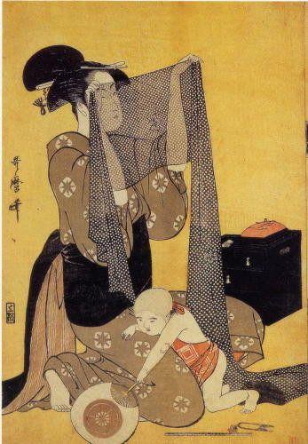 "Kitagawa Utamaro,<strong>&nbsp;</strong>""Woman inspecting silk"""