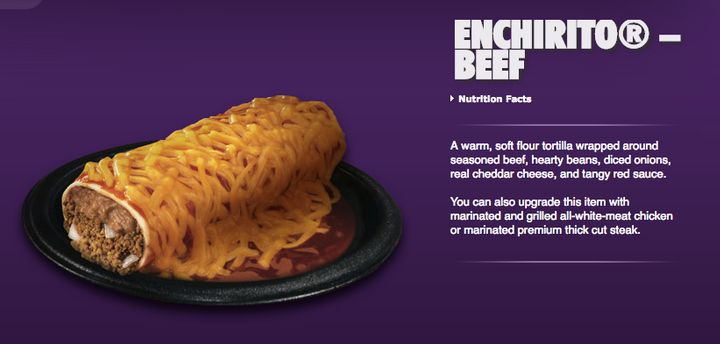 A screenshot from Taco Bell's 2013 website, promoting the second iteration of the Enchirito