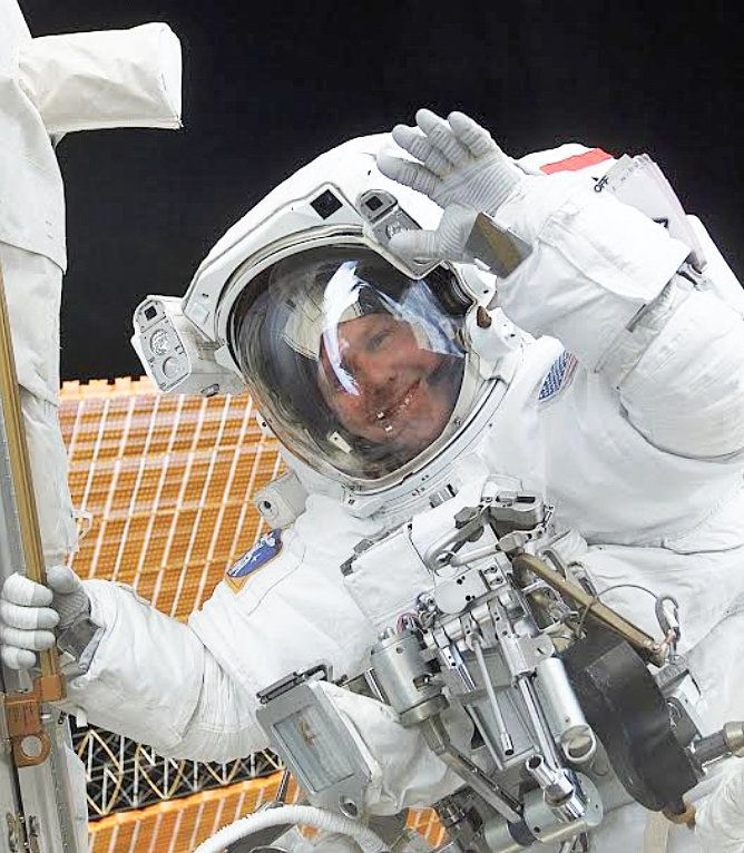 Astronaut Tom Jones during one of his three spacewalks on Space Shuttle mission STS-98 in February 2001 which activated the U
