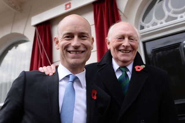 Stephen Kinnock with his father