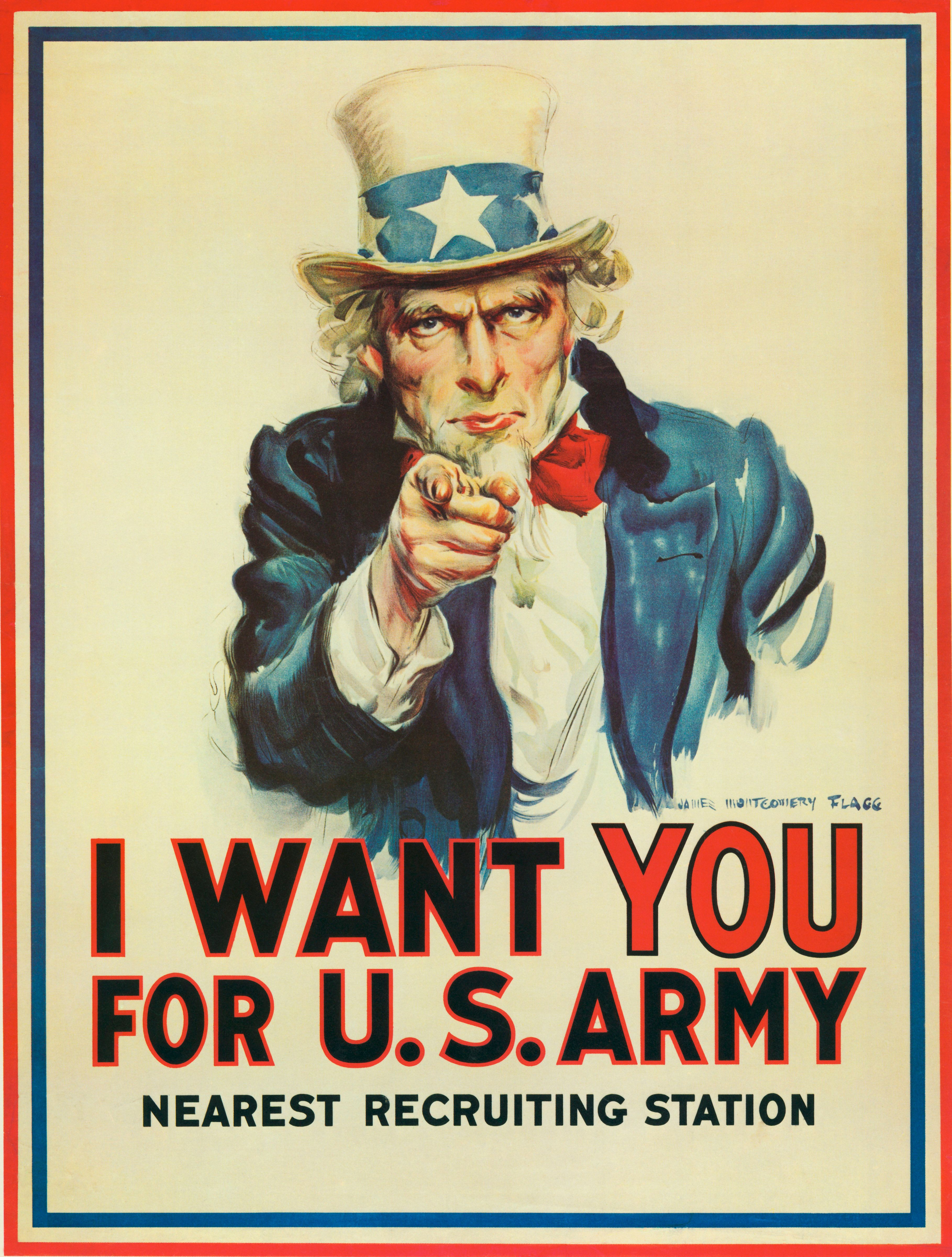 An Army recruiting poster featuring Uncle Sam that was created by American artist James Montgomery Flagg, Washington DC, 1917. It's use was revived again for World War II. (Photo by Underwood Archives/Getty Images)