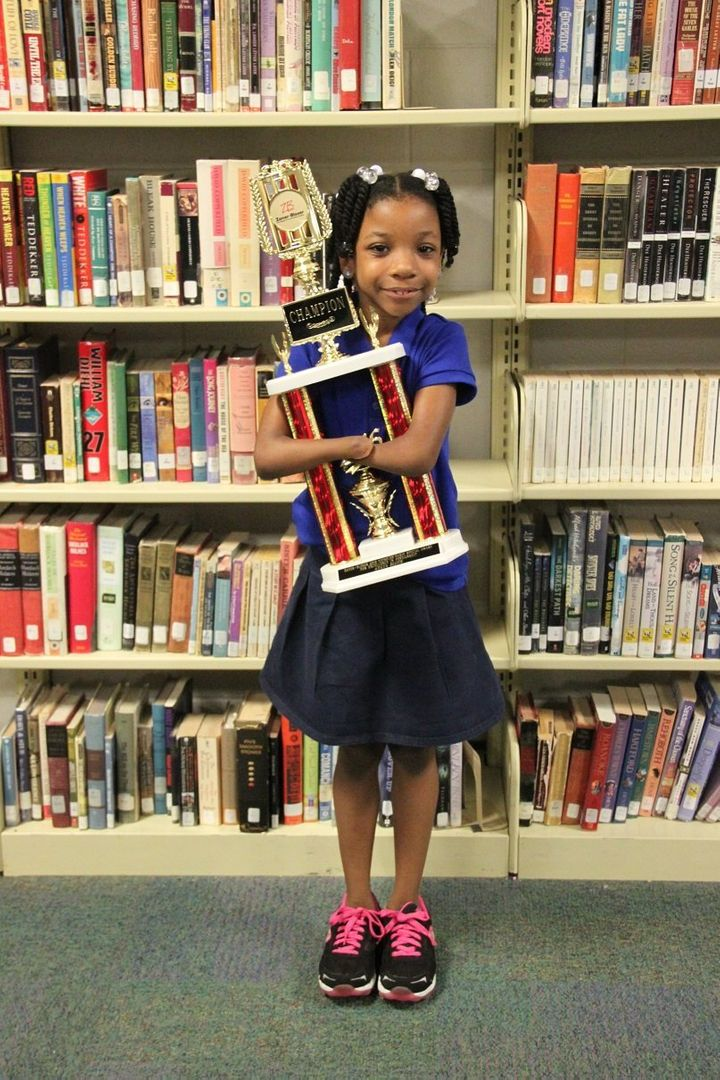 Anaya with her trophy.