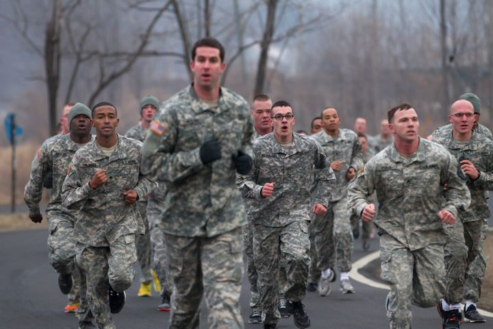 U.S. Army soldiers run during an air assault training course in Dongducheon, South Korea.