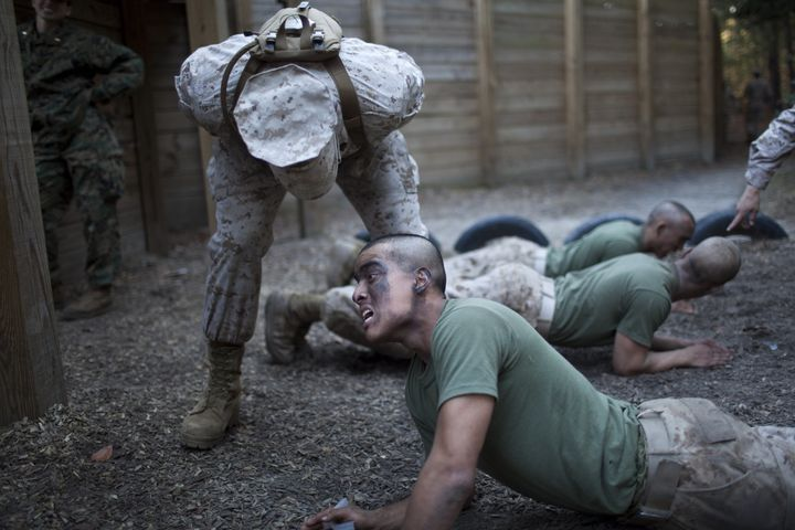 U.S. Marine Corps drill instructors put new recruits through their paces on Parris Island, South Carolina.