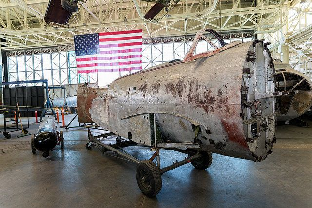 "The forward fuselage of the Nakajima B5N ""Kate"" is pictured on display at Hawaii's Pacific Aviation Museum."