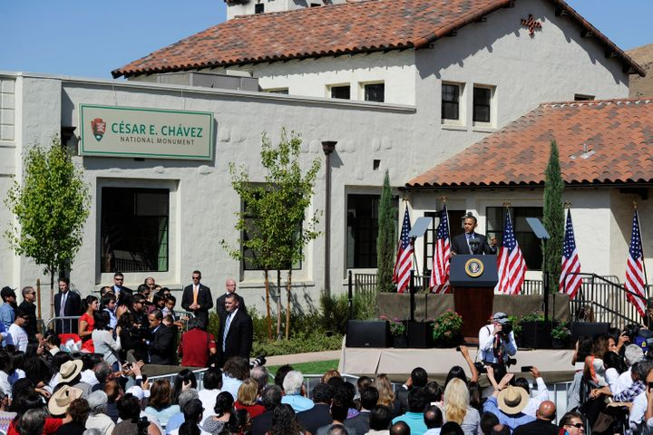 President Barack Obama speaks during the dedication of the César E. Chávez National Monument in Keene, Californ